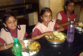 Students having lunch