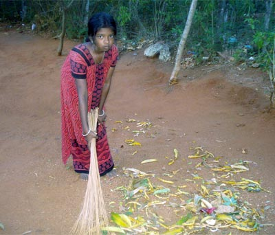 sweeping the solid waste